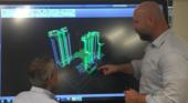 BIMmen in de bouw met een interactief touchscreen
